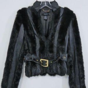 Black Genuine Leather Faux Fur Bold Belt Jacket